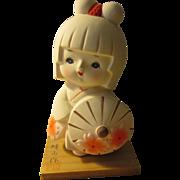 "Sweet Japanese Hakata Doll with Sakura Kimono and Parasol, 5 1/4"" - Red Tag Sale Item"
