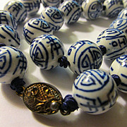 Vintage Chinese Blue and White Ceramic Bead Necklace, 24""