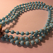 Mid-Century Philip Hulitar Original Robin Egg Blue Glass Bead Triple-Strand Choker Necklace, 16""