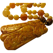 "Striking Yellow Jade Cicada Pendant with Yellow Jade Bead Necklace, 24"""