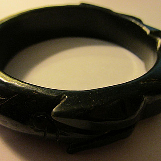 Rare Black Jade Bangle of Carved Mythical Dragon, 62mm