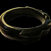 Rare Black Jade Bangle of Carved Mythical Dragon, 62mm