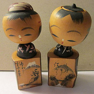 Mt. Fuji and Country Village Scene Hand Painted on Kokeshi Dolls, Set of 2