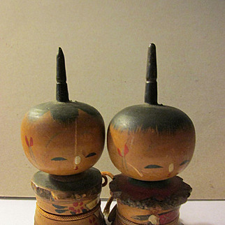 Needlepoint Head Tree Branch Japanese Kokeshi Dolls, Set of 2