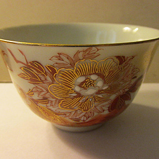 Kutani Ware Single Serving Teacup with Golden Peacock and Peony Blossoms