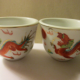Chinese Ceramic Teacups of Wild Dragon Chasing Pearl of Wisdom, Set of 2