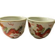Chinese Ceramic Teacups of Wild Dragon Chasing Pearl of Wisdom, Set of 2 - Red Tag Sale Item