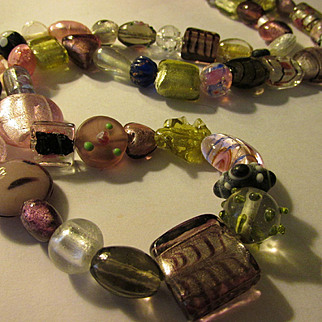 Artisan Silver and Pink Lampwork-Silver-Foil-Blown Glass Bead Necklace, 34""