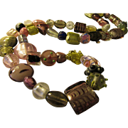 """Artisan Silver and Pink Lampwork-Silver-Foil-Blown Glass Bead Necklace, 34"""""""