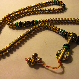 Golden Tibetan Brass-Dzi-Gemstone Bead Necklace, 22""