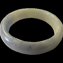 Icy Whitish-Blue Jade Bangle Bracelet, 61mm