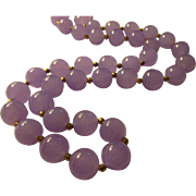 """Lavender Jade Bead Necklace with 14KGF Spacers, 24"""""""