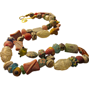 """Artsy Chinese Peking Glass-Lampwork Glass-Silver Foil Glass Bead Necklace, 26"""""""