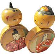 "2"", Japanese Hand Painted Feudal Lord and Lady Wooden Kokeshi Doll Couple"