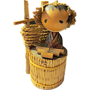 "4"", Folk Art Straw Farmer Japanese Kokeshi Doll"