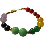Rainbow Colored Chakra Bead Bracelet with 14KGF Spacers, 8""