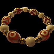 Tibetan Style Three-Eyed Agate Dzi Charms with White Gemstone Bead Bracelet