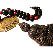 Black Jade Buddha Pendant with Black Agate-Red Coral Bead and Zodiac-Yin Yang Coin, 22""