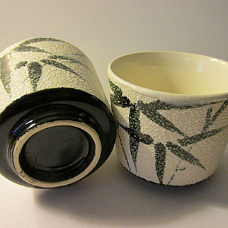 "Japanese Ceramic Teacups with Hand Painted ""Take"" Bamboo Leaf Motif, Set of 2"