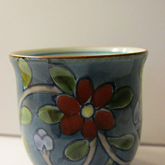 Little Signed Japanese Sake Cup with Colorful Hand Painted Floral Motif, 2""