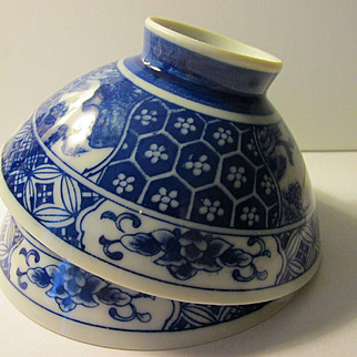 "Blue and White Japanese ""Chawan"" Rice Bowl, Set of 2"