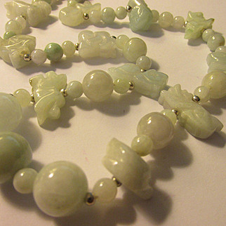 Asian Zodiac Hand Carved Jade Animal Charm and Bead Necklace, 21""