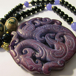 Purple Jade Chinese Dragon Pendant with Dzi-Agate-Gemstone Bead Necklace, 24""