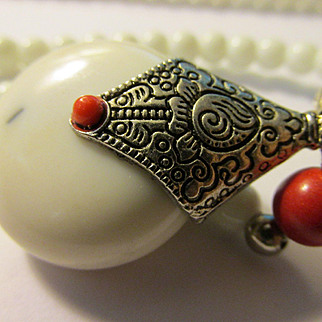 Tibetan Style Teardrop Gemstone Pendant with Red and White Bead Necklace, 24""