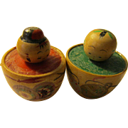 """1 1/8"""", Miniature O-Furo Bathers Kokeshi Dolls with Hand Painted Musical Instruments, Set of 2"""