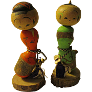 """3"""", Japanese Kokeshi Good Fortune Gourd of Married Couple, Set of 2 - Red Tag Sale Item"""
