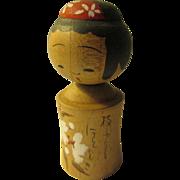 """2 3/8"""", White Sakura on Little Japanese Girl Kokeshi Doll"""