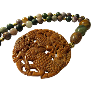 """Auspicious Kylin and Dragon Brown Jade Medallion Pendant with Indian Agate Bead Necklace, 18"""""""