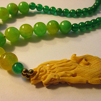 Carved Bone Dragon Pendant with Green Jade Bead Necklace, 19""