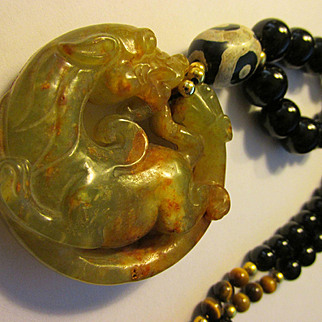 Brownish-Olive Jade Dragon and Phoenix Pendant with Black Agate-Tiger Eye-Dzi Bead Necklace, 21""
