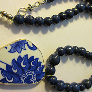 Blue and White Ceramic Floral Shard Pendant with Blue Lapis Bead Necklace, 26""