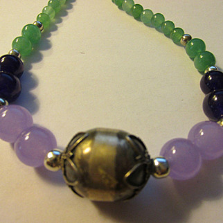 Balinese Silver Focal Bead with Green Jade-Purple-Lavender Gemstone Bead Necklace, 21""