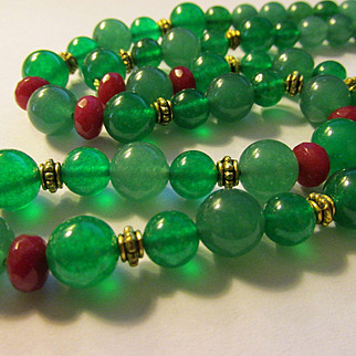 Green Jade Bead Necklace with Ruby Accents, 22""