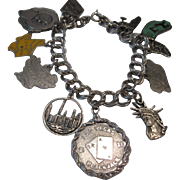 Vintage Sterling Silver World Traveler Charm Bracelet 7""