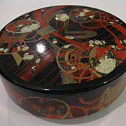 Japanese Lacquerware Sakura, Kiku, and Taiko Drum Round Box with Lid