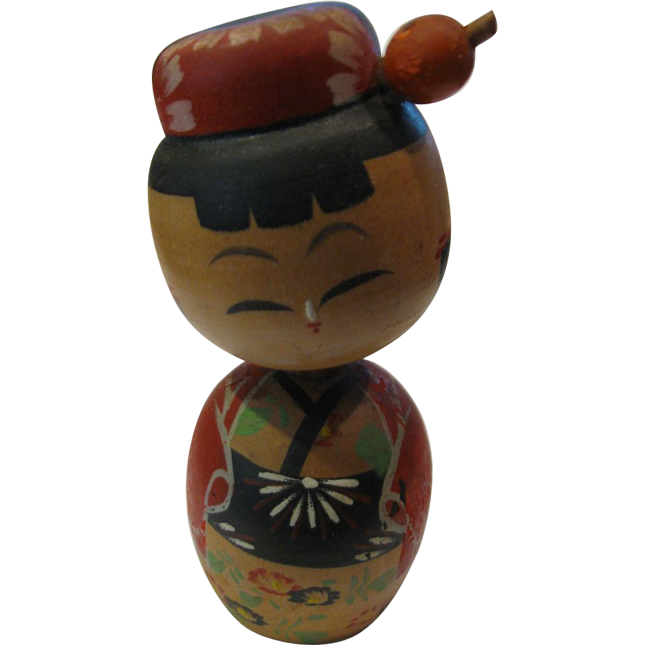 4 1 2 Quot Japanese Kokeshi Bobbing Head Girl Doll Eurasian