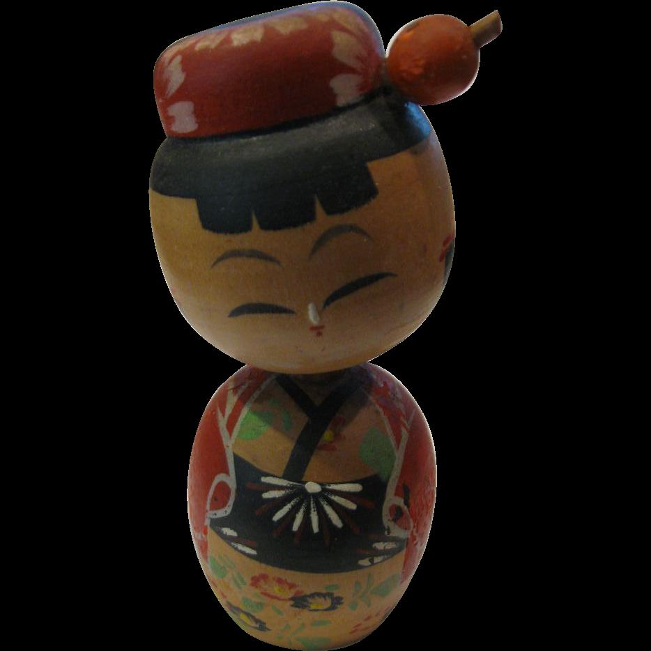 Japanese Kokeshi Bobbing Head Girl Doll From Eurasian