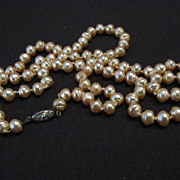 """Champagne Pink Faux Pearl Necklace, 30"""""""