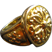Vintage Chinese Gold-Plated Vermeil 925 Silver Ring, Size 5