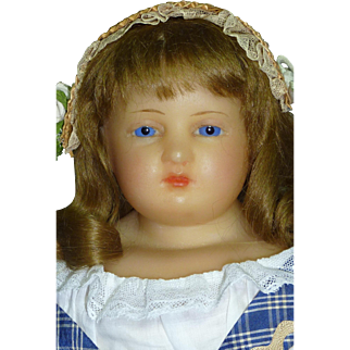 """Delightful 19"""" Slightly Turned Head Wax Young Lady"""