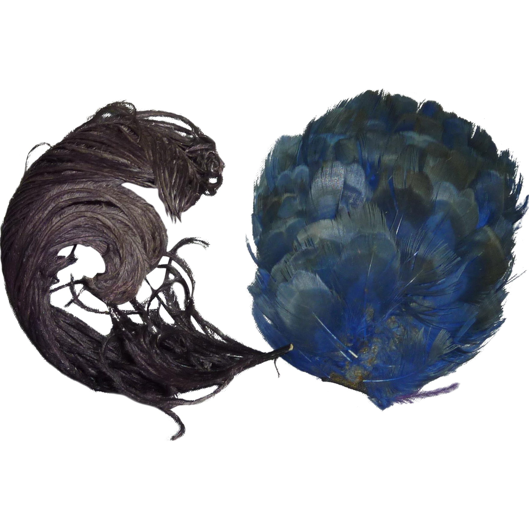 Decorative Feathers, Blue and Deep Plum Colors