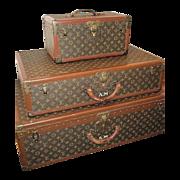 French Dreams!!Louis Vuitton Luggage Original Authentic Antique, Matching 3 Piece Set w/ ORIGINAL keys, J'Adore!!