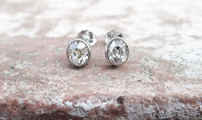 diamond with halo stud bezel set earrings