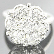 Art Deco 2.80 Carat TW Transitional Cut Diamond Cluster Flower Ring