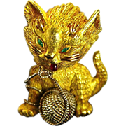 Tiffany and Co French Brooch Extremely Rare Attributed to Donald Claflin 18K Gold Emerald & Ruby Vintage Playful Cat Kitten Brooch Pin Figural