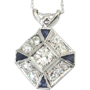 Art Deco Old European Cut Diamond And Platinum Sapphire Pendant Necklace